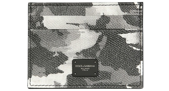 Card Holder With Camoflauge Print And Logo - Dolce & Gabbana