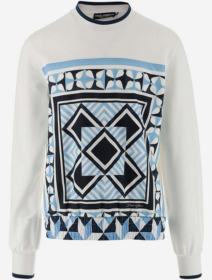 Majolica Print Round-neck Jersey Sweatshirt  - Dolce & Gabbana