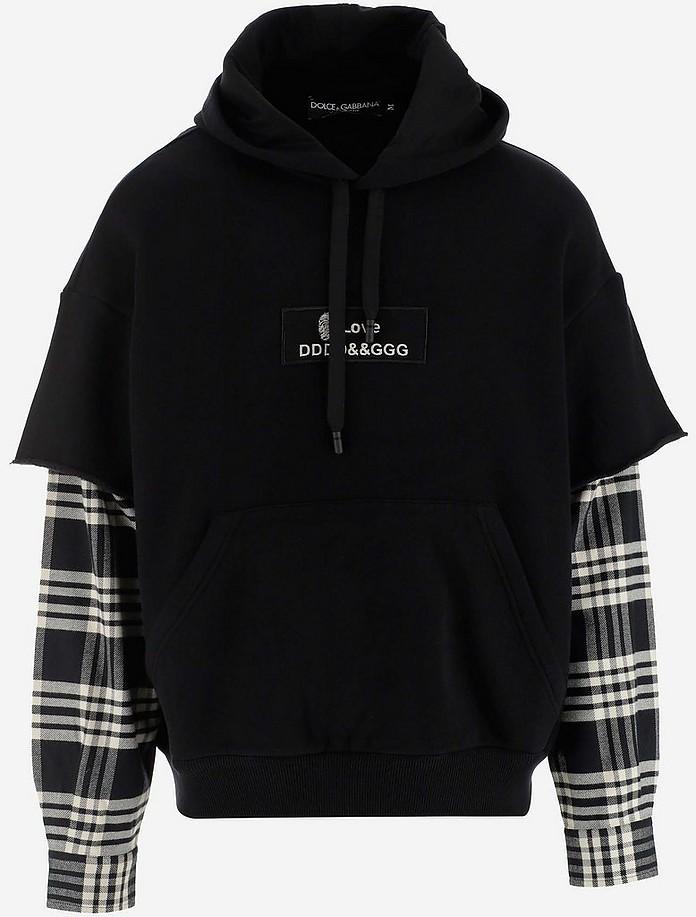 Black Cotton Men's Double Sleeve Hoodie - Dolce & Gabbana