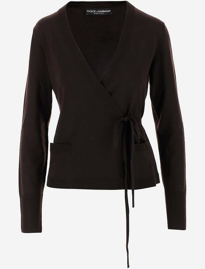 Brown Wool Wrap Around Cardigan - Dolce & Gabbana