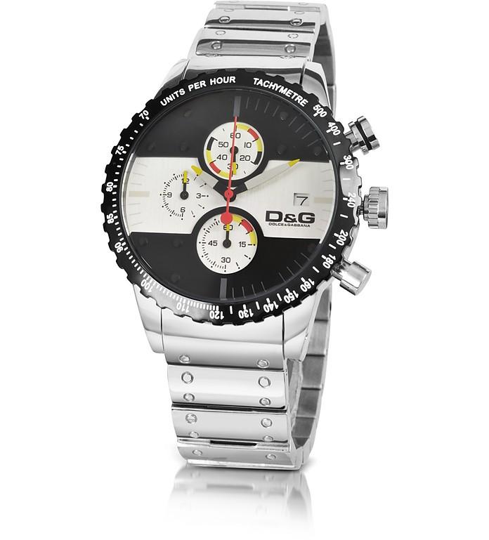 finest selection 83b2c 1eed9 D&G - Orologio in Acciaio con Cronografo Bianco e Nero con Logo