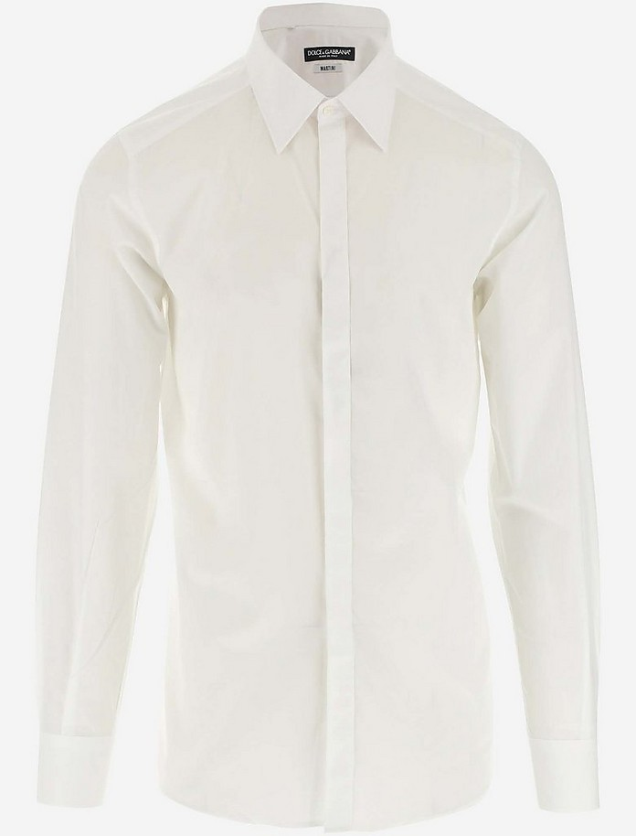 White Cotton Men's Dress Shirt - Dolce & Gabbana