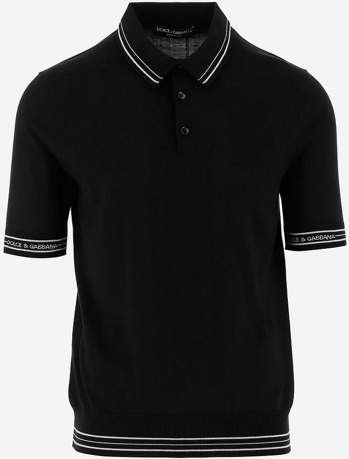 Black Silk Blend Men's Polo Shirt - Dolce & Gabbana