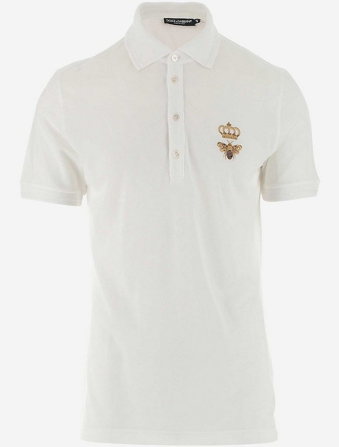 White Cotton Blend Men's Polo Shirt - Dolce & Gabbana
