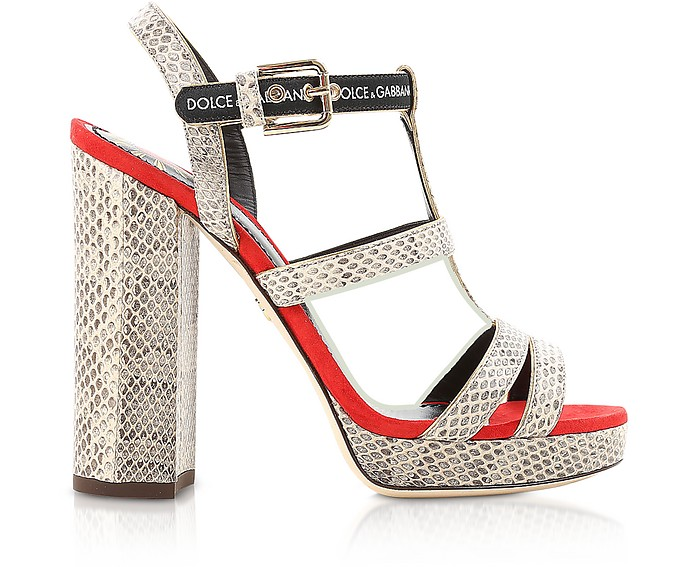 Stone Ayers and Red Suede Signature Platform Sandals - Dolce & Gabbana