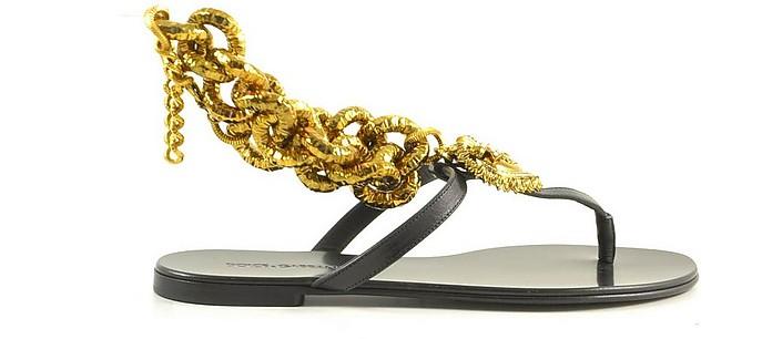 Black T-bar Flat Sandals w/Gold Chain and Heart - Dolce & Gabbana