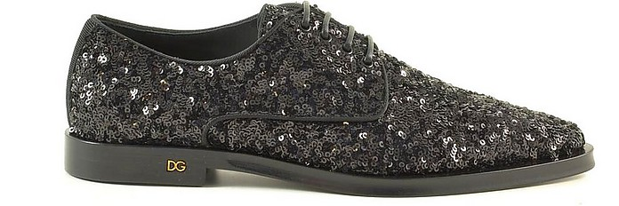 Black Sequins Oxford Shoes - Dolce & Gabbana