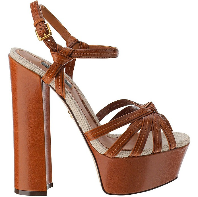 Keira Brown Leather High Heel Platform Sandals - Dolce & Gabbana