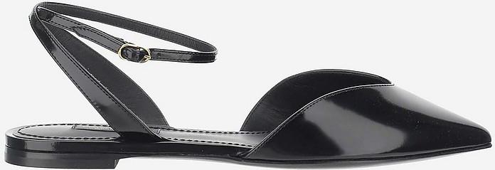 Black Shiny Leather Flat Slingback Shoes - Dolce & Gabbana / ドルチェ&ガッバーナ