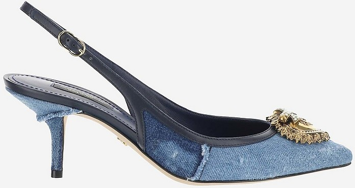 Devotion Patchwork Blue Denim and Leather Slingbacks - Dolce & Gabbana / ドルチェ&ガッバーナ