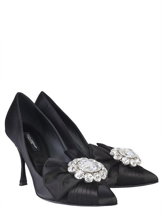 Black Satin Silk  Bow & Crystals Pumps - Dolce & Gabbana