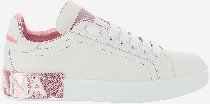 Light Pink and White Portofino Women's Sneakers - Dolce & Gabbana