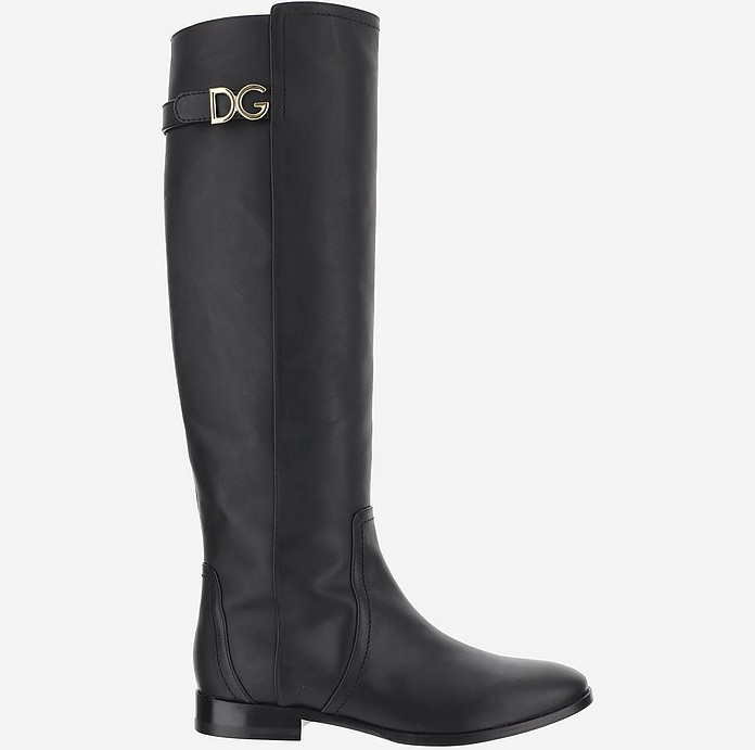 Black Leather Women's Boots - Dolce & Gabbana