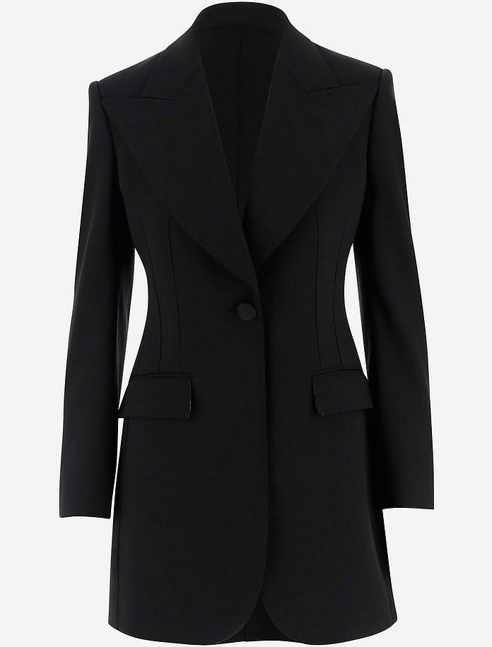 Black Virgin Wool Women's Long Jacket - Dolce & Gabbana