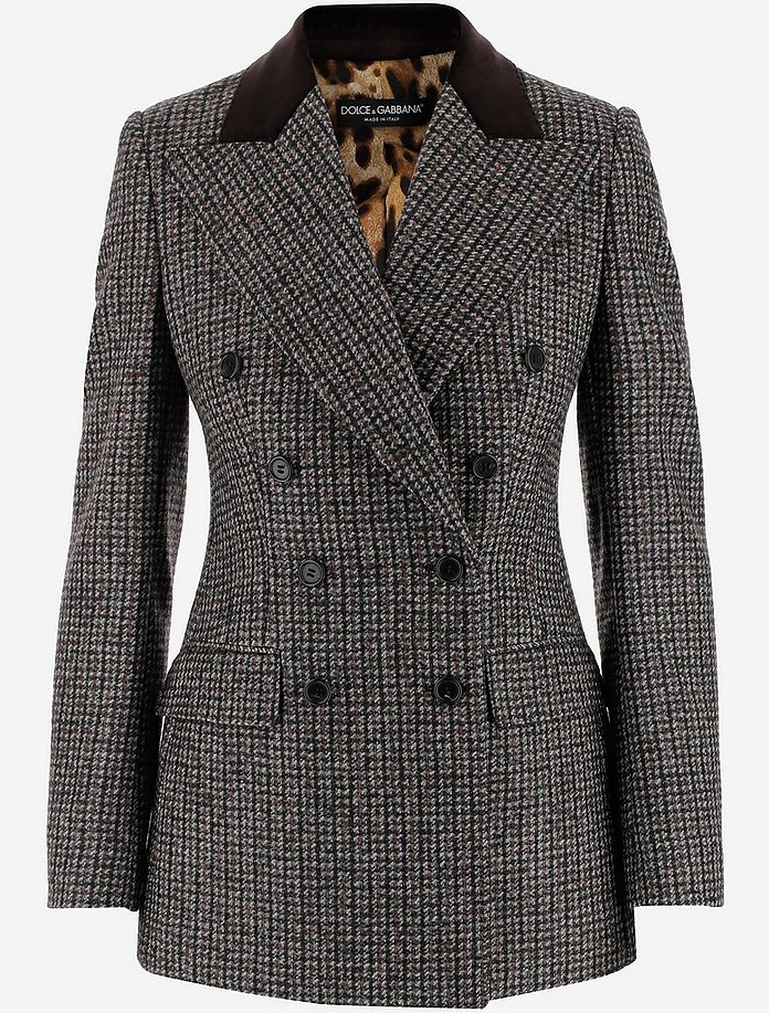 Wool and Alpaca Double-brested Women's Blazer - Dolce & Gabbana