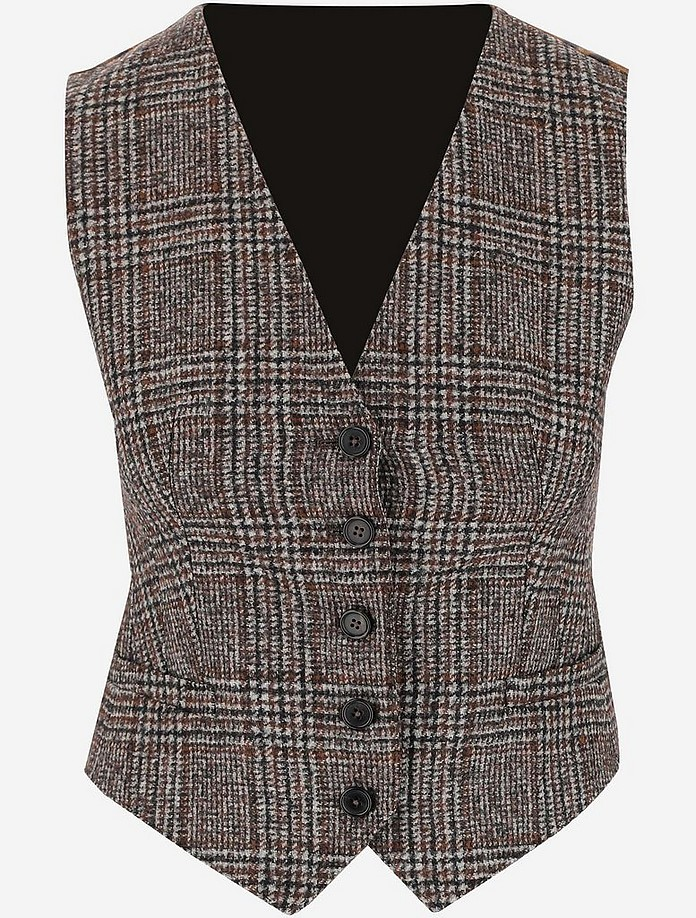 Check Wool Women's Waistcoat - Dolce & Gabbana