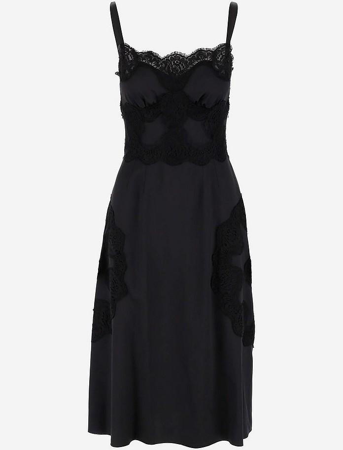 Lace Edge Satin Silk Women's Dress - Dolce & Gabbana