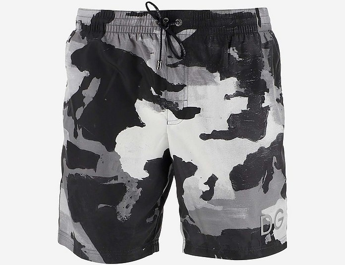 Camouflage Print Men's Swim Pants - Dolce & Gabbana