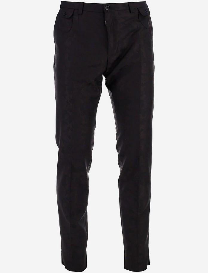 Camouflage Jacquard Wool Men's Pants - Dolce & Gabbana