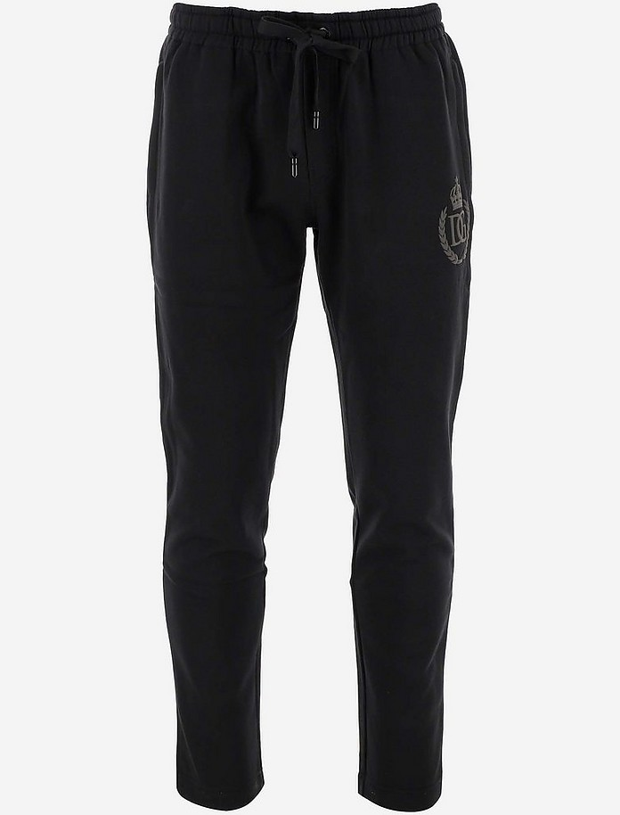 Black Cotton Men's Tracksuit Pants - Dolce & Gabbana