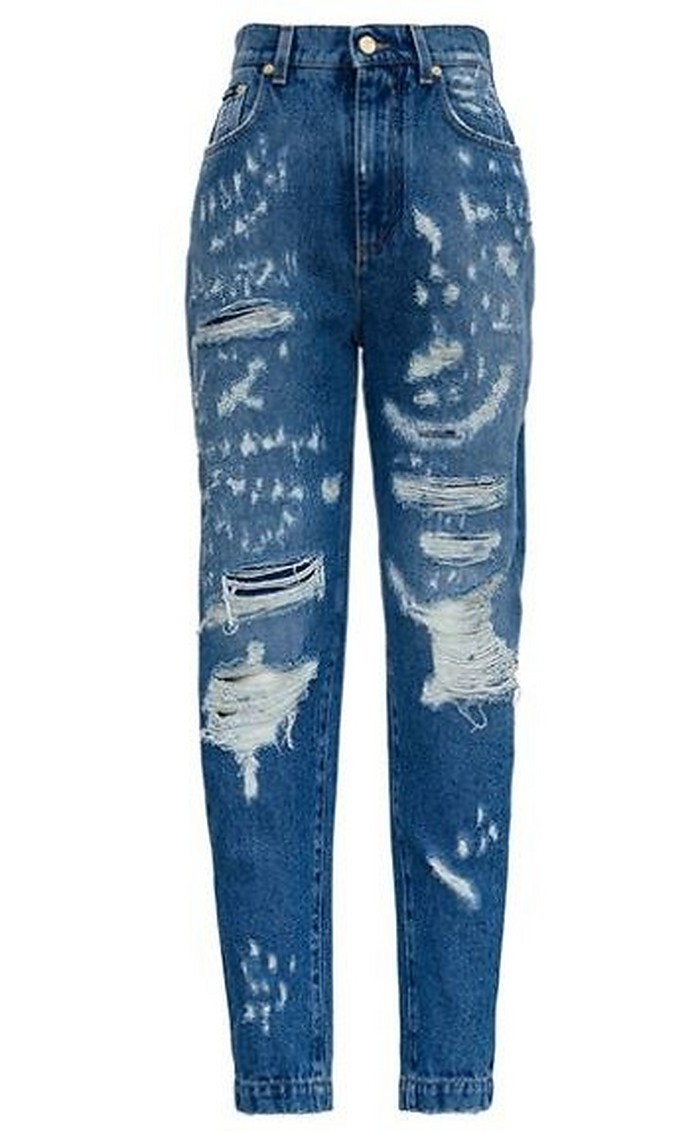 Distressed Denim Slouchy-fit Women's Jeans - Dolce & Gabbana