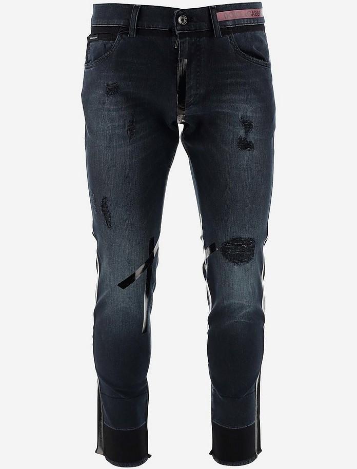Black Distressed Denim Men's Jeans - Dolce & Gabbana 杜嘉班纳