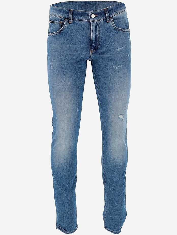 Light Blue Skinny Stretch Men's Jeans With Small Abrasions - Dolce & Gabbana