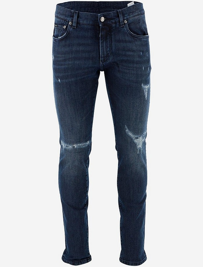 Dark blue Skinny Stretch Men's Jeans With Small Abrasions - Dolce & Gabbana