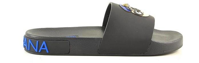 Black / Blue Men's Slide Pool Sandals - Dolce & Gabbana / ドルチェ&ガッバーナ