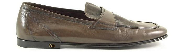 Brown Washed Leather Men's Loafer Shoes - Dolce&Gabbana