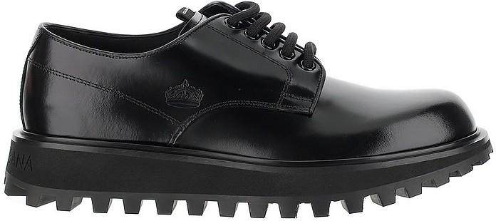 Black Shiny Leather Lace-Up Derby Shoes - Dolce & Gabbana