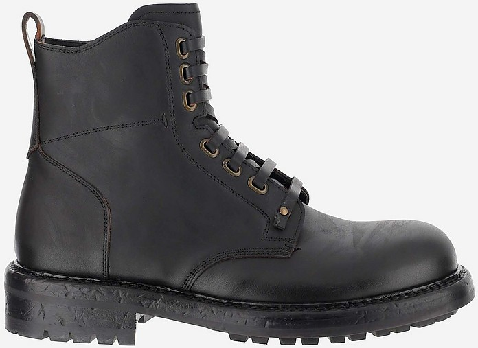 Black Leather Kombat Boots - Dolce & Gabbana
