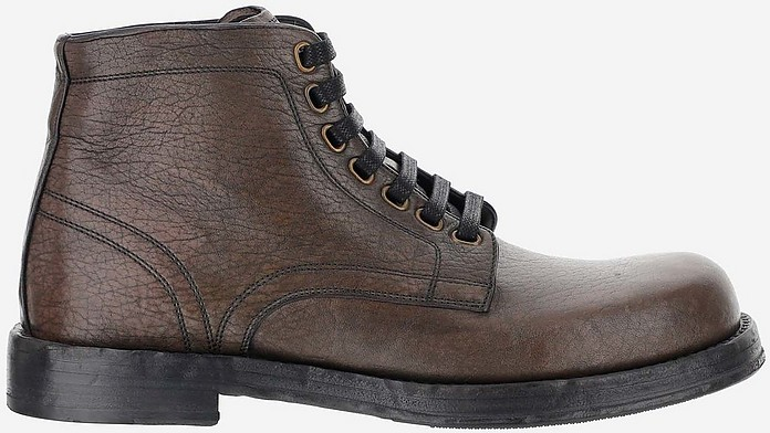 Brown Grainy Leather Ankle Boots - Dolce & Gabbana