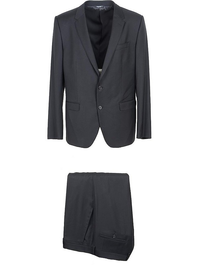 Black Virgin Wool Single Breasted Suit - Dolce & Gabbana