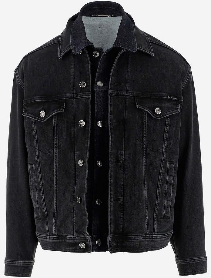 Black Washed Denim Jacket w/Double construction - Dolce & Gabbana