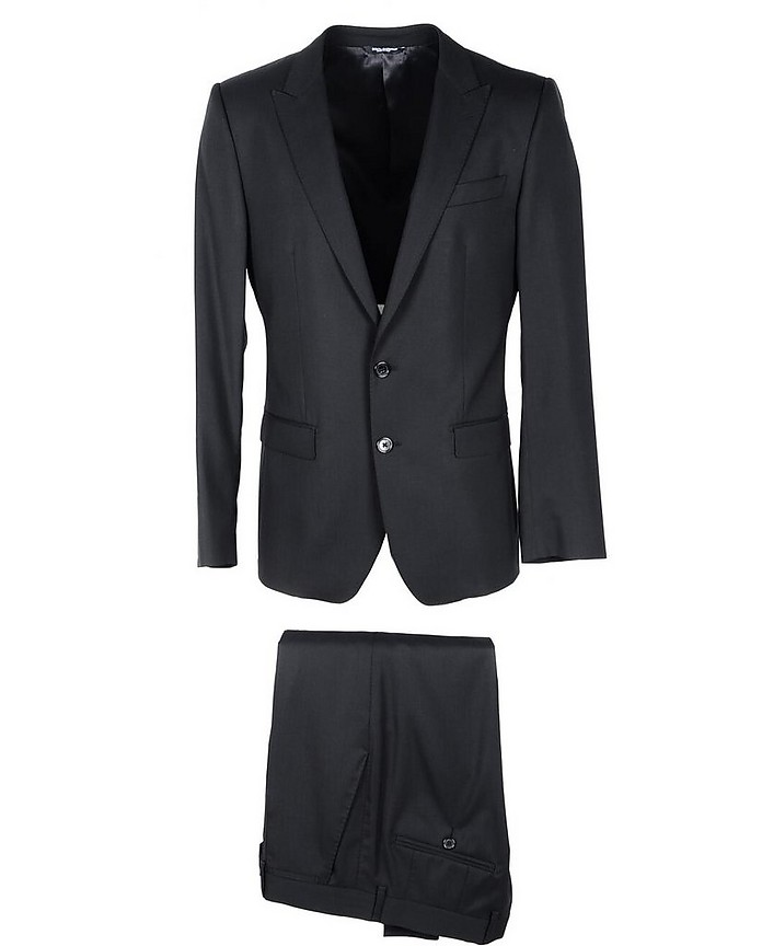 Black Virgin Wool & Silk Blend Single Breasted Suit - Dolce & Gabbana / ドルチェ&ガッバーナ