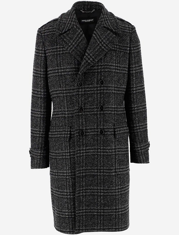 Double-breasted Glen Plaid Wool Coat - Dolce & Gabbana
