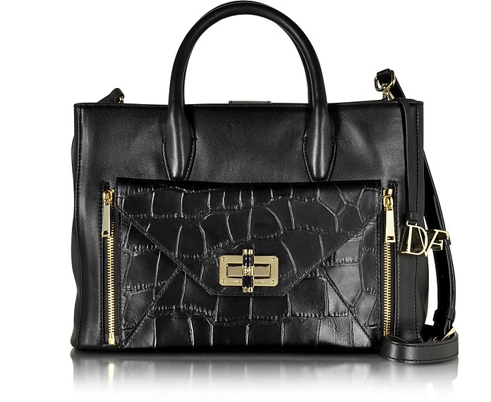 440 Gallery Large Double Agent Black Embossed Croco Leather Tote - Diane Von Furstenberg
