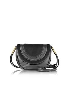 Bullseye Black Leather and Suede Mini Crossbody Bag - Diane Von Furstenberg