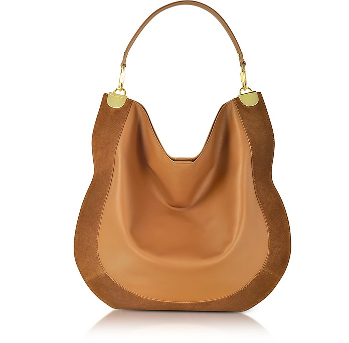 Diane Von Furstenberg Moon Whisky Leather and Suede Large Hobo Bag ... 76e4c2bd8f6e1