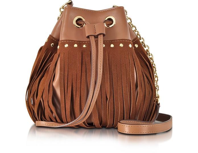 Disco Saddle Brown Suede and Leather Fringe Bucket Crossbody Bag - Diane Von Furstenberg