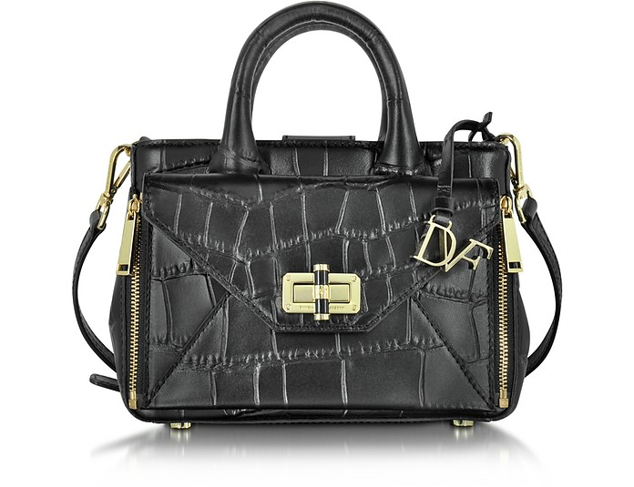 Black Embossed Croco Leather Mini Secret Agent Tote - Diane Von Furstenberg
