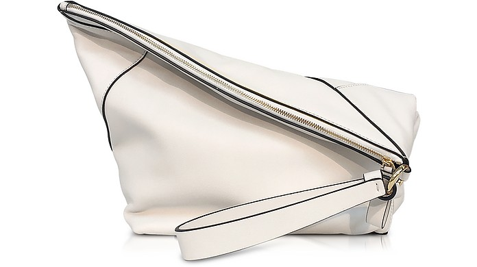 Origami Ultra White Leather Wristlet Handbag - Diane Von Furstenberg