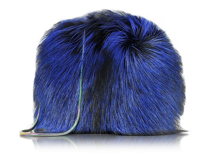 Love Power Cobalt Tipped Fox Puff Bag - Diane Von Furstenberg