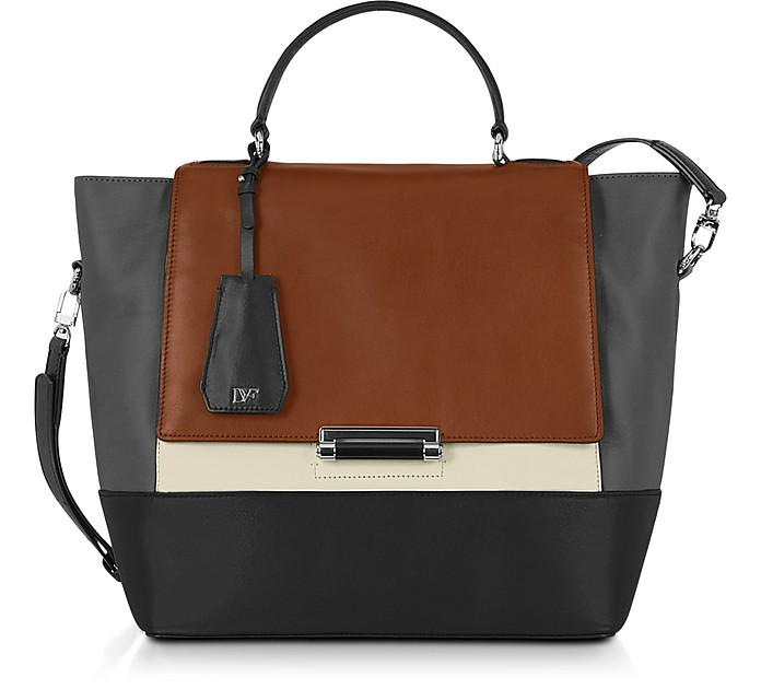Large Color Block Top Handle Satchel  - Diane Von Furstenberg