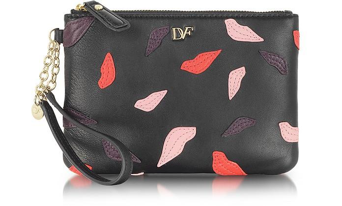 Lips Leather Zip Pouch - Diane Von Furstenberg