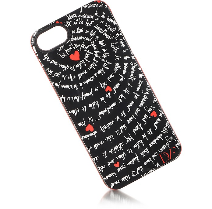 Black and Red Heart Mantras Case for iPhone 5 - Diane Von Furstenberg