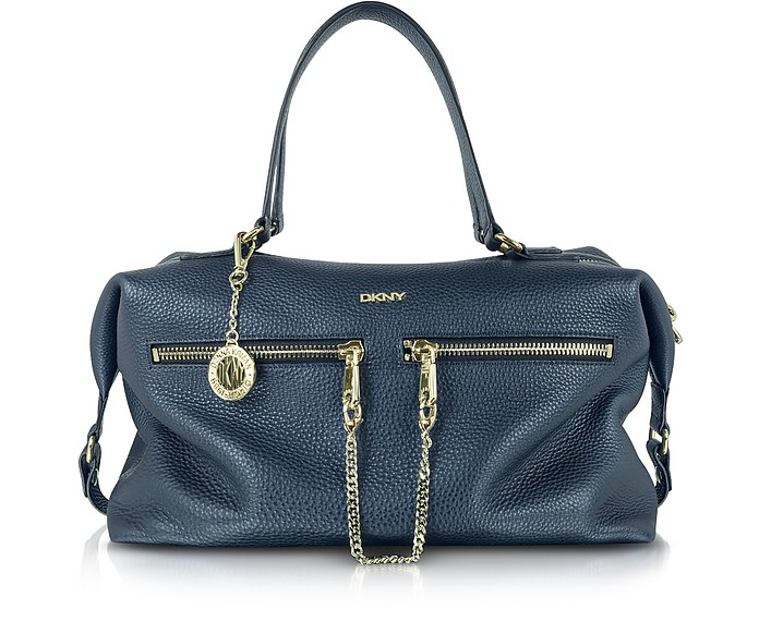 Tribeca Large Navy Blue Leather Satchel - DKNY