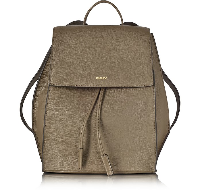 Chelsea Khaki Grained Leather Backpack - DKNY