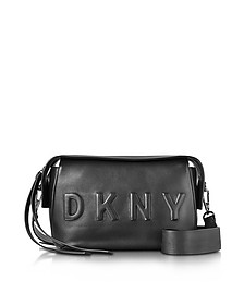Debossed Logo Black/Black Leather Crossbody Bag - DKNY